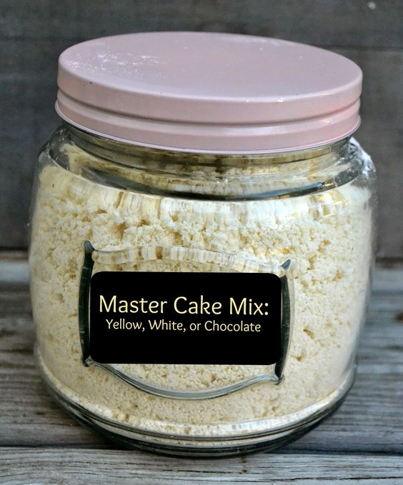 Master Cake Mix: (makes about 17 cups mix)- 10 C. flour, 6 1/4 C. sugar, 1 C. cornstarch, 5 Tbsp. baking powder, 1  Tbsp. salt, 2 1/2 C. shortening or butter. For a whole batch of Chocolate Cake Mix: Add 1 1/2 - 2 C. cocoa powder. Use within 3 mos.For 1 Mix: 5 C. cake mix, 1 1/4 C. milk,  3 eggs,  1 tsp.vanilla.  Makes 2 round cake pans or 9X13 inch cake pan.