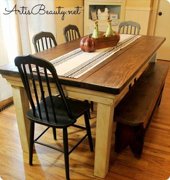 Farmhouse Table For Under $100 (Knock Off Decor) | Farmhouse Table, Diy  Farmhouse Table And Kitchens