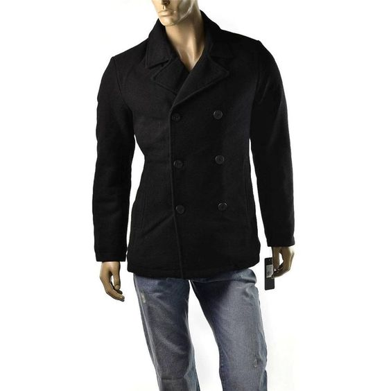 Guess Coat Mens Wool Double Breasted Navy Peacoat Jacket Size XL