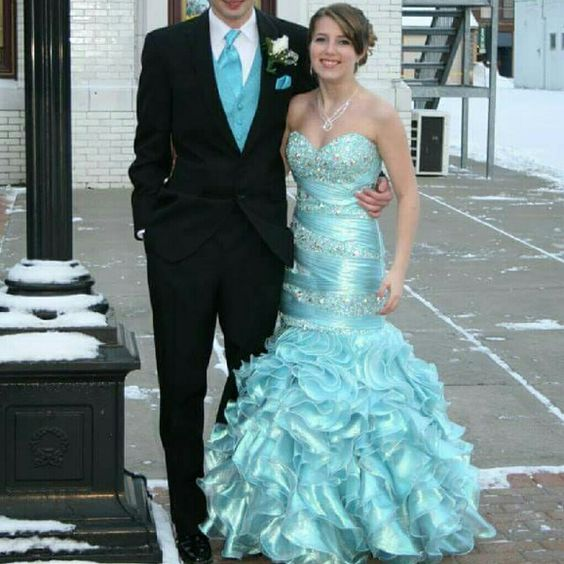 Tiffany Designs Ice Blue Mermaid Prom Gown Stunning mermaid gown with beaded bodice and corset back and organza bottom. Tiffany Designs  Dresses