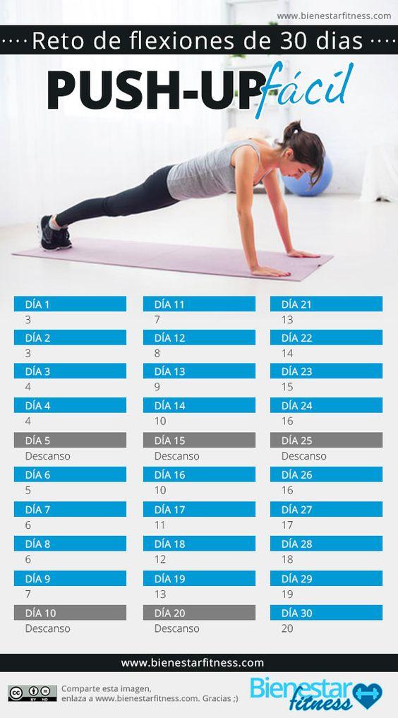 Reto flexiones (Push-up) de 30 días (FÁCIL)