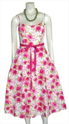 50s Style Floral Print Dress by NeldasVintageClothing.com