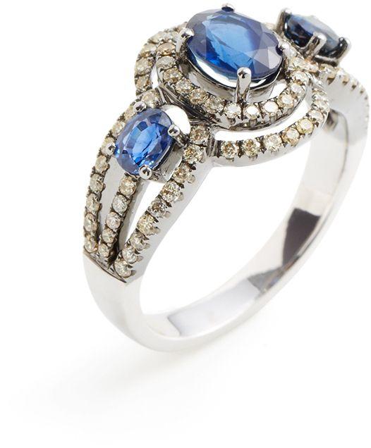 Sapphire & Champagne Diamond Cutout Band Ring on shopstyle.com