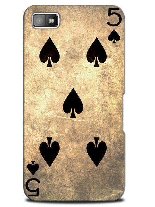 Five 5 of Spades Vintage Playing Deck Cards Case Cover Design for Blackberry
