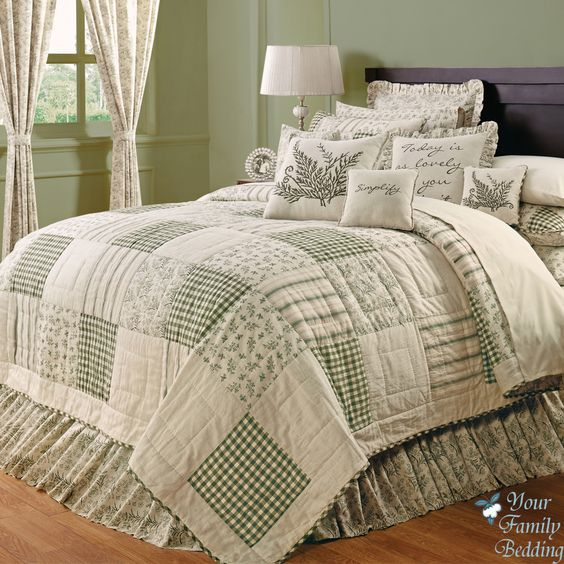 Country Green Ivory Floral Patchwork Twin Queen Cal King Sized Quilt Bedding Set Ebay 154
