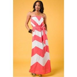 Coral Chevron Strapless Maxi Dress $39.99