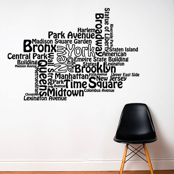 Mur autocollant vinyle autocollant stickers art decor for Autocollant mural new york