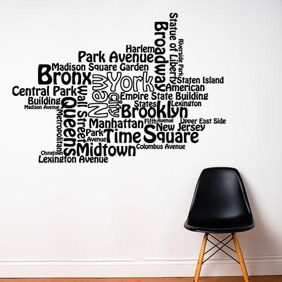 Mur autocollant vinyle autocollant stickers art decor for Autocollant mural new york