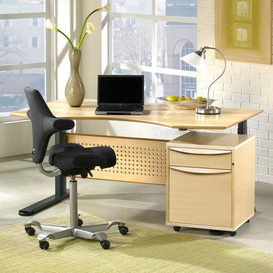 Sit and Stand Height Adjustable Desk - Maple - Rectangular Computer Desks at Hayneedle
