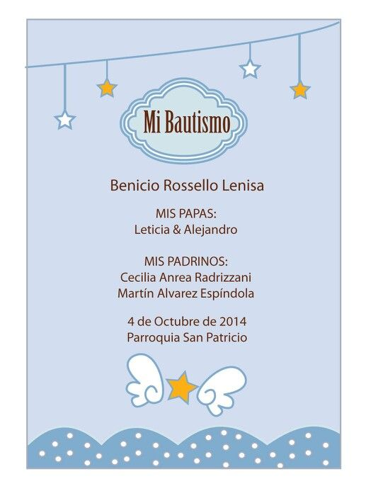 Tarjeta Bautismo Beni Celeste  bautismo  Pinterest  Cards