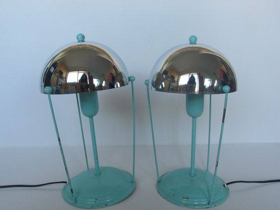 mint green with chrome shade lamps art deco or 1950s. Black Bedroom Furniture Sets. Home Design Ideas
