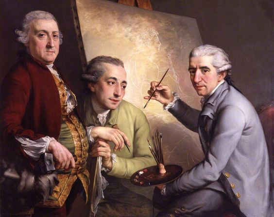 Agostino Carlini; Francesco Bartolozzi; Giovanni Battista Cipriani, 1777, by John Francis Rigaud. Three Italian-born artists who made their careers in England and who were all founder-members of the Royal Academy. Carlini is shown with a sculptor's hammer, Bartolozzi with an engraver's burin, and Cipriani, sitting before the easel, has a palette and a brush in his hand.: Art Portraits Men, Francis Rigaud Jpg, Carlini Francesco, Bartolozzi Giovanni, Cipriani 1777, Agostino Carlini, John The Baptist