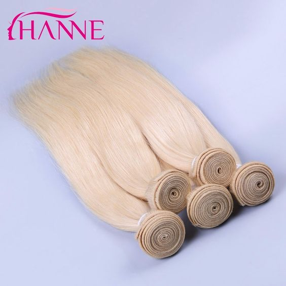 6A Russian Blonde Virgin Hair Weaves 3pcs lot Hanne Hair Russian 613 human hair straight blonde Remy Hair Extensions DHLshipping