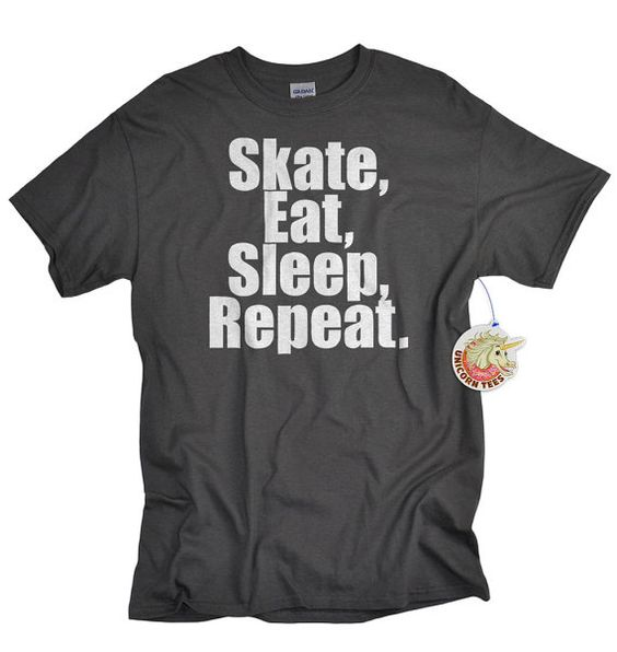 Perfect birthday or Christmas gift for skateboarders - Skateboarding t shirt Sk8 eat sleep repeat by UnicornTees on Etsy, $14.99  #skateboard