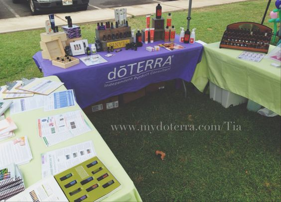our doterra vendor display at an outdoor event  we had 3