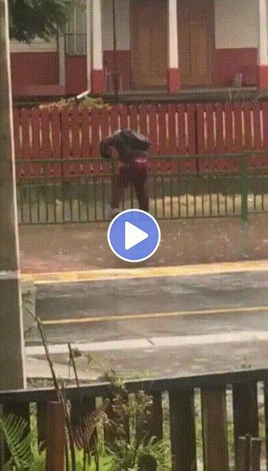 Esse cara fez de tudo pra não se molhar, mas veja como ele tem pouca sorte!!