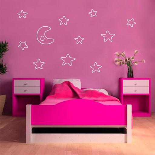 vinilo decorativo formado por una bonita luna con estrellas que parece que hubiesen sido dibujadas