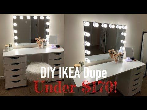 Diy Ikea Dupe Vanity Desk W Mirror Lights Under 170 00 Grluna Youtube In 2020 Ikea Mirror Lights Diy Vanity Table Mirrored Vanity Desk