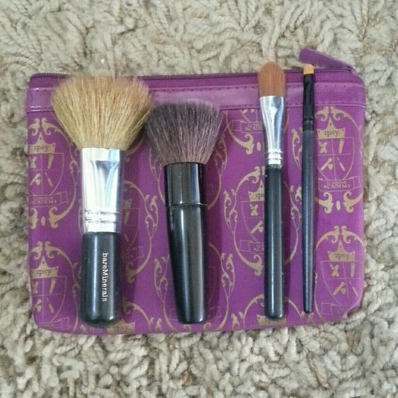 Bare Minerals Make Up Brushes 4 bare minerals brushes. The biggest and smallest ones were both used twice but have been properly washed and sanitized! Really good quality brushes that are in great condition! FREE BRUSH BAG WITH PURCHASE. bareMinerals Makeup Brushes & Tools