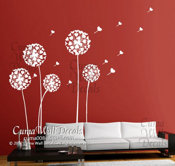 Dandelion wall decals nursery vinyl wall decal flower tree for Dandelion wall mural