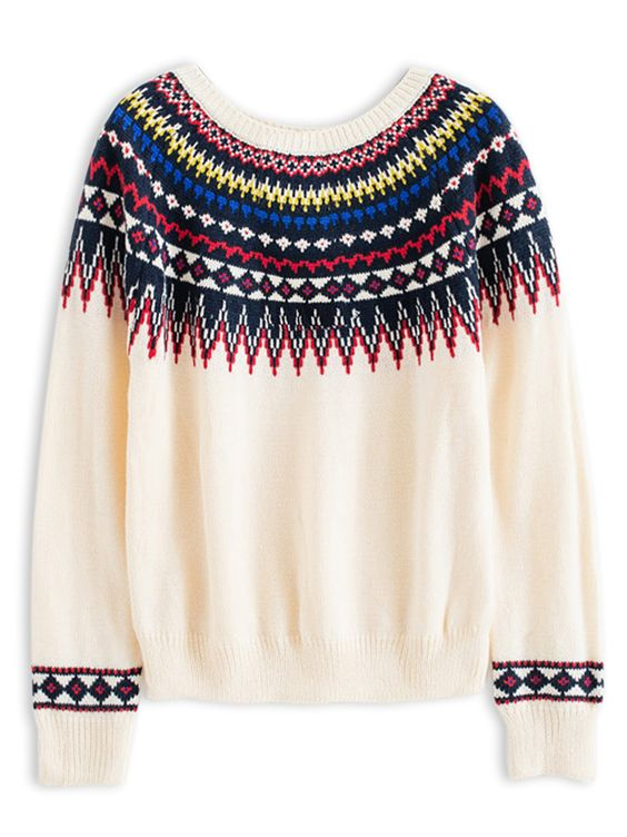 White Geometry Pop Jumper | Choies