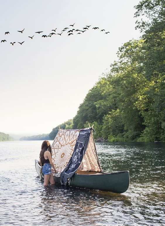Canoe tent...What a cute idea! (Maybe do a test run with the little ones off the water?)