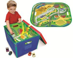 Amazon.com: Neat-Oh! ZipBin Full Throttle Road & Rail 500 Car Toy Box & Playmat: Toys & Games