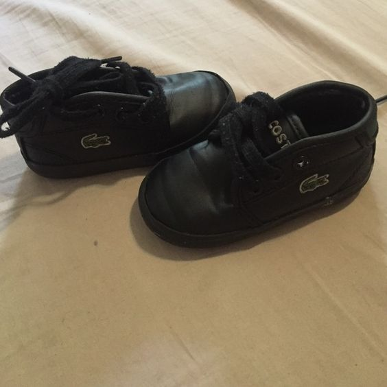 Toddler Lacoste Shoes Black size 4c ! In very excellent condition! My son outgrown them! Color black! Lacoste Shoes Sneakers