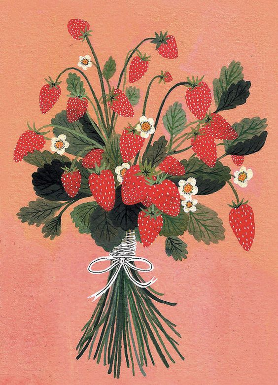strawberries (print of a gouache painting) by beccastadtlander