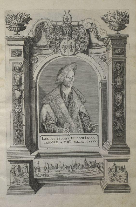 Jacobus Fugger Kupferstich von 1618- Kaufmann, Stifter, Visionär--Mit Jakob Fugger dem Reichen (1459-1525) erreichte die Fuggersche Firma ihren ersten Höhepunkt. Ihm war es gelungen, durch Verknüpfung von Edelmetall-, Waren-, und Finanzierungsgeschäften zum führenden Kaufmann und Bankier seiner Zeit aufzusteigen. Jakob Fugger ist das bekannteste Gesicht aller Fugger. Sein Porträt mit der Goldkappe, das Albrecht Dürer schuf, zeigt ihn auf dem Höhepunkt seiner Schaffenskraft.