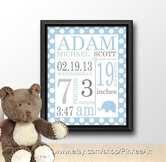 personalized boy baby birth art polka dot baby name by PinkeeArt, $17.00