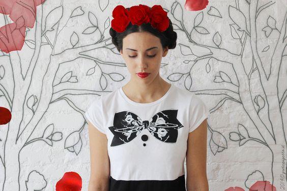 Frida abito cucito e dipinto a mano su ordinazione di Greta Pigatto couture su DaWanda.com