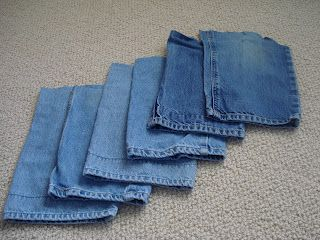 Great uses for old cotton denim jeans and other materials!