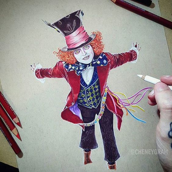"""Mad as a Hatter""  .. Mad Hatter drawn on Tone Tan Paper with Prismacolor Pencil. ✌  #Cheneygram #Brisbane #Australia #Bulimba #AliceInWonderland #MadHatter #Alice #ThroughTheLookingGlass #Drawing"