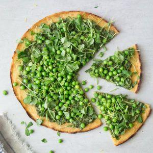 Pea Socca + Mustard Greens Pesto