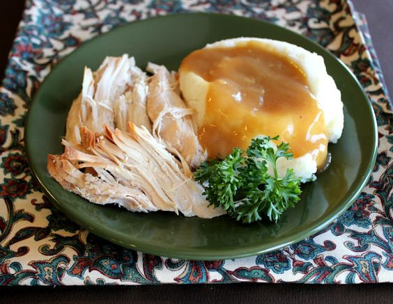"Turkey Breast for the Crock Pot.  Pinner says ""Veridict:  SO SO GOOD!!  And VERY easy!  I loved the flavor of this Turkey, and it was cooked perfect.  First night I served it with mashed potatoes and a vegie.  Second night I used the leftovers for Turkey noodle soup.  This is my now go to Turkey Breast recipe.  loved it."""