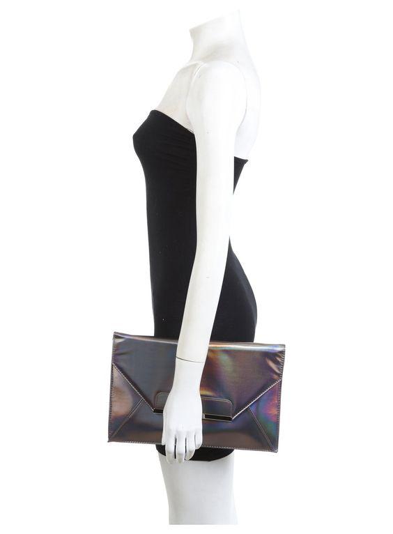 Foto 2 von Zinngraue Clutch mit Hologramm
