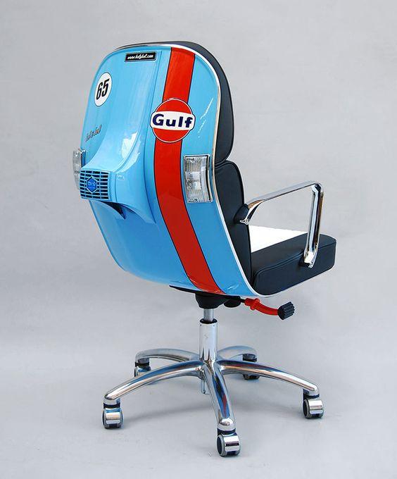 vespas convertidas en sillas de oficina 1