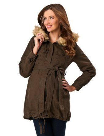 A Pea in the Pod: Tie Front Faux Fur Maternity Jacket