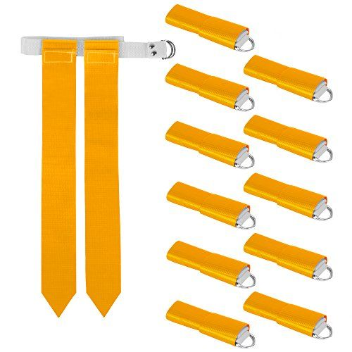 Crown Sporting Goods 12 Pack Flag Football Team Set Includes 12 Belts With 24 Flags Accessories For Flag Touch Games Practices Training Flag Football Fun Sports Football Team
