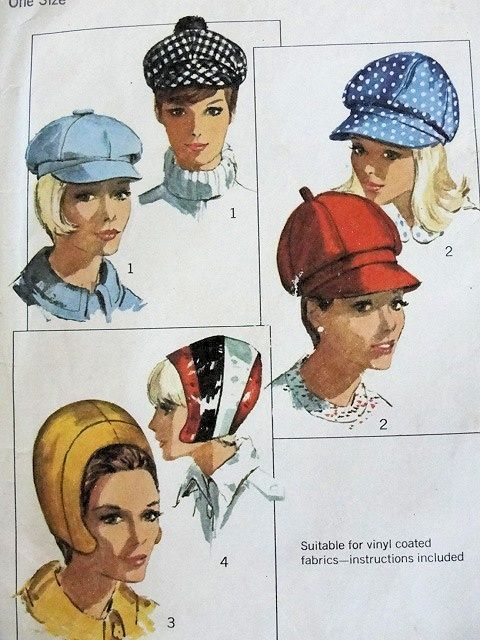 Vintage Mod Hats  all the rage.  I had a small white one like the upper left