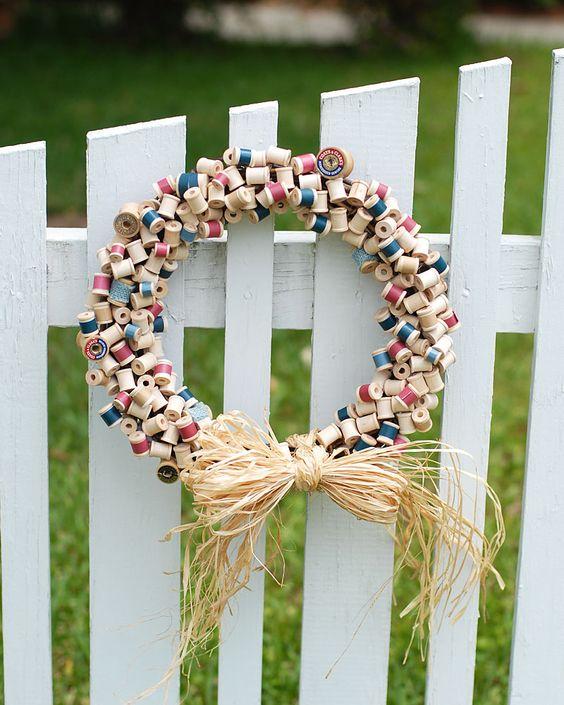 Patriotic Thread Spool Wreath