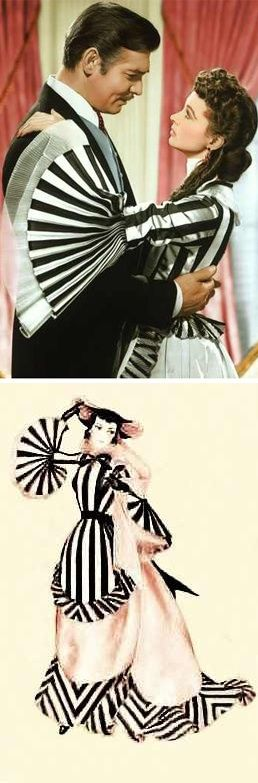 'Gone With The Wind' - Scarlett's striped sleeves. Costume Designer: Walter Plunkett