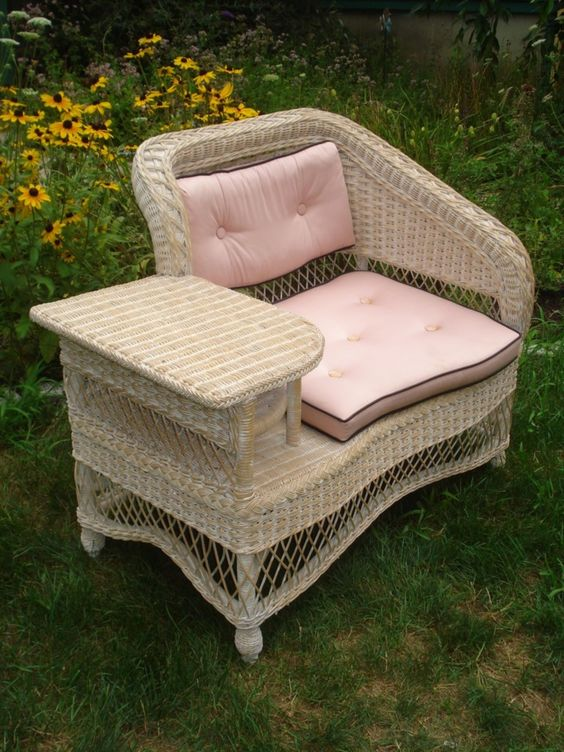 Vintage Wicker 1950 S Telephone Bench Table Henry Link Art