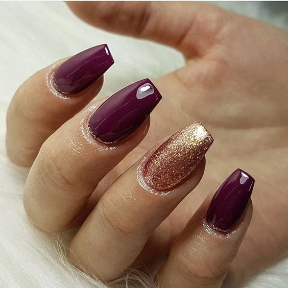 Burgundy wine rose gold nails