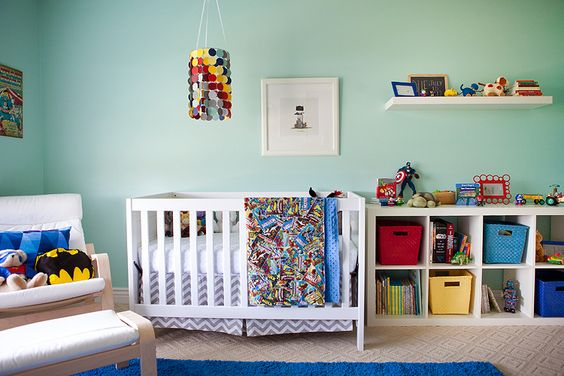 Modern super-hero nursery - love the fun pops of color in the mobile and storage baskets! {see more nursery ideas at projectnursery.com}: Nursery Theme, Kids Room, Wall Color, Superhero Nursery Ideas, Superhero Baby Nursery, Boy Nursery Superhero, Baby Rooms