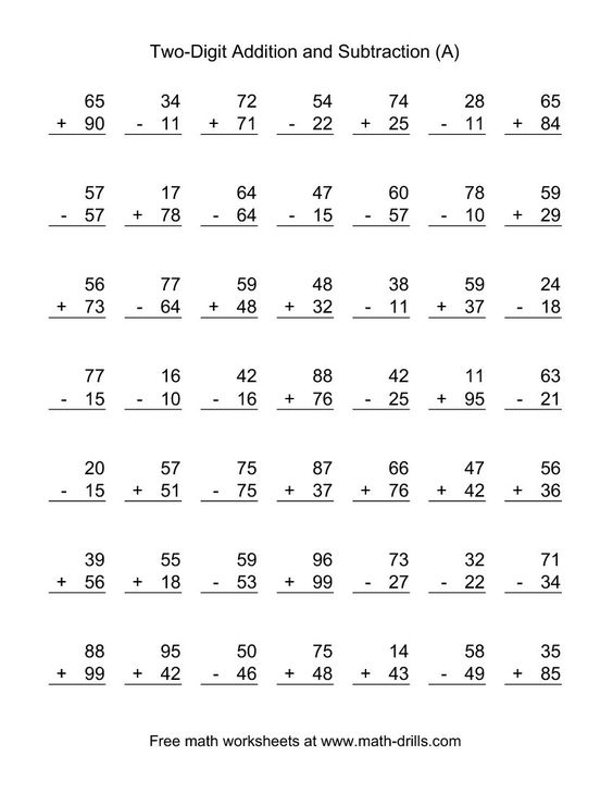 adding and subtracting two-digit numbers | second grade worksheets ...