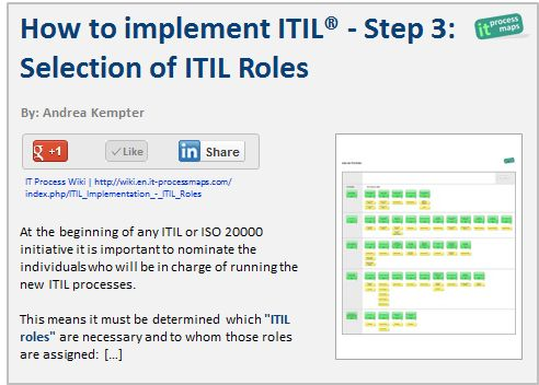 Itil Implementation Itil Roles It Process Wiki Role The Selection Project Management