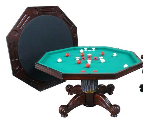 3 In 1 Game Table Octagon 54 Bumper Pool Poker Dining In Dark Walnut By Berner Billiards With Images Bumper Pool Bumper Pool Table Table Games