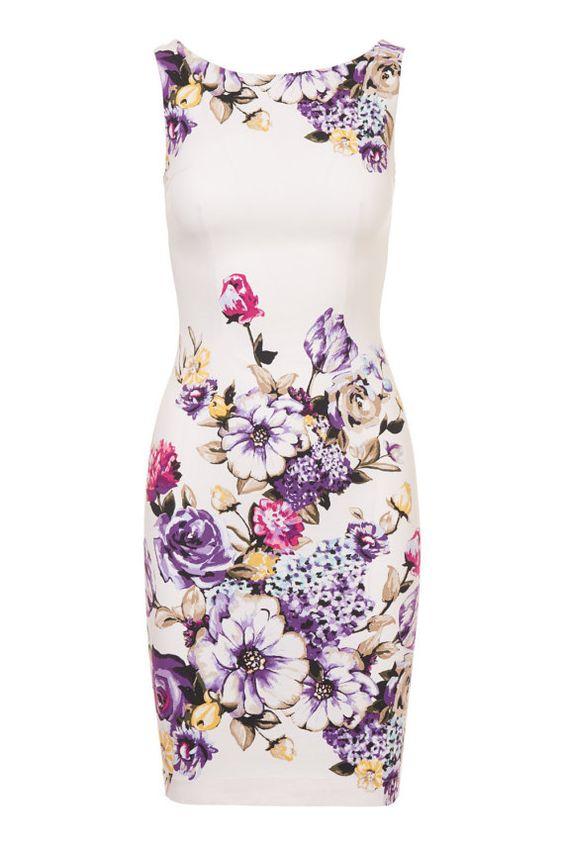 Summer dress floral dress white dress day dress work by Valdenize